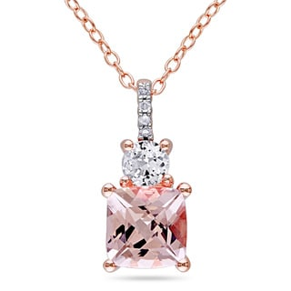 Miadora Rose Plated Silver Morganite, White Sapphire and Diamond Accent Necklace