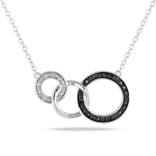M by Miadora Tuxedo Sterling Silver Black and White Diamond Circle Necklace