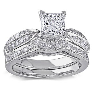 Miadora 14k White Gold 1 1/3ct TDW Princess Contour Band Diamond Bridal Set (H-I, I1-I2)