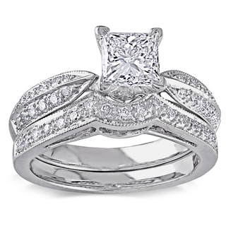 Miadora 14k White Gold 1 1/3ct TDW Diamond Bridal Ring Set (H-I, I1-I2)