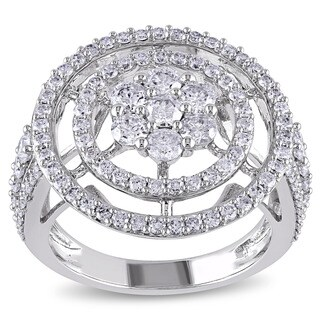 Miadora Signature Collection 14k White Gold 2ct TDW Cluster Circle Halo Diamond Ring (G-H, I1-I2)