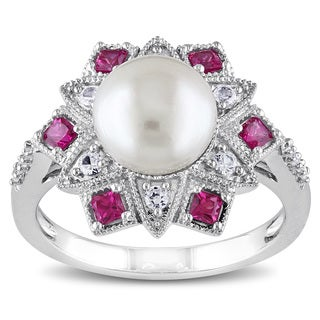 Miadora Silver Cultured Pearl, Multi-gemstone and Diamond Accent Ring (8-8.5 mm)