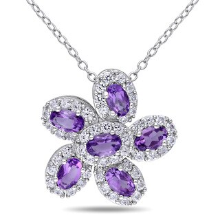 Miadora Sterling Silver Amethyst and Created White Sapphire Flower Necklace