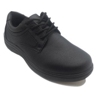 Men's Slip-resistant Tie-up Black Oxford Work Shoes