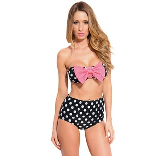 Women's Retro Pin-up Polka-dot Bandeau with High Waist Bottom Swimsuit