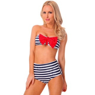 Women's Nautical Navy and Red Pin-up Bandeau and High Waist Bottom