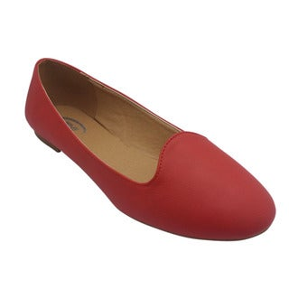Women's Red Round Toe Flats