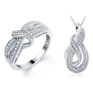 Sterling Silver Overlay Diamond Accent Necklace and Ring Jewelry Set