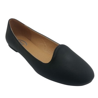 Women's Faux Leather Black Flats