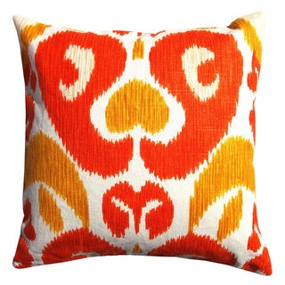 Contemporary Global Ikat Cotton Orange/ Yellow Square Decorative Pillow