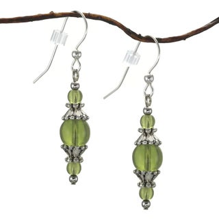 Jewelry by Dawn Round Olive Green Glass With Pewter Accents Dangle Earrings