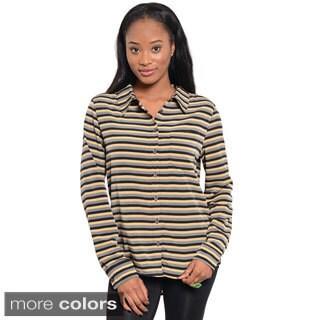 Feellib Juniors Striped Long-sleeve Button-down Top