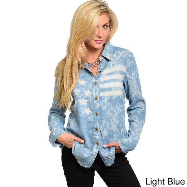 Shop The Trends Junior's Long Sleeve Acid Wash USA Flag Denim Shirt