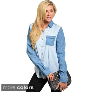 Shop The Trends Junior's Button-down Contrast Colored Denim Top