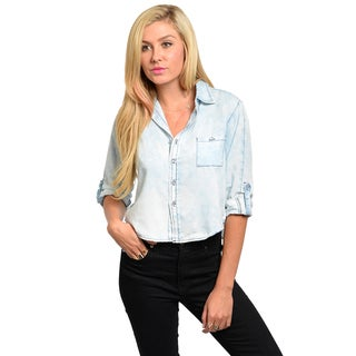 Shop The Trends Junior's Vintage Distressed Denim Crop Top