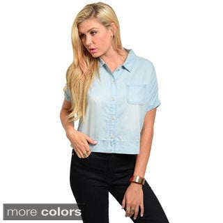 Feellib Junior's Short Sleeve Boxy Fit Denim Button Down Top with Semi Hi-low Hemline