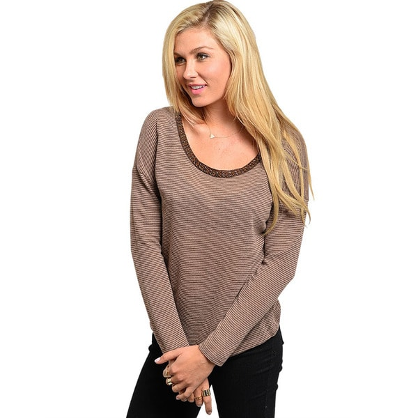 Shop The Trends Junior's Striped Long Sleeve Knit Top with Bead Accented Neckline