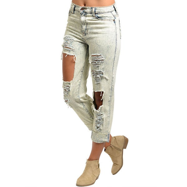 Shop The Trends Junior's Acid Wash Distressed Boyfriend Jeans