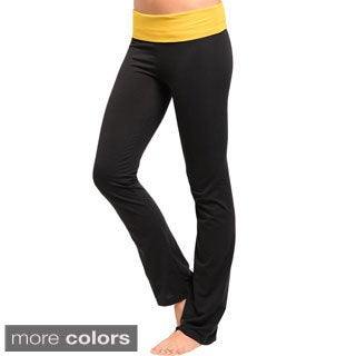 Junior's Two-tone Semi-flared Stretch Banded Yoga Pants