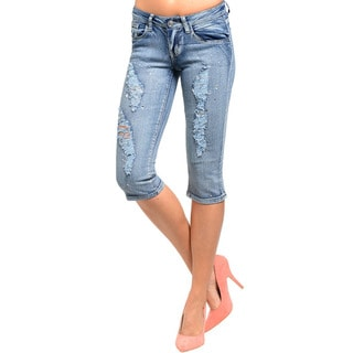 Feellib Junior's Distressed Faded Wash Denim Capri Jeans