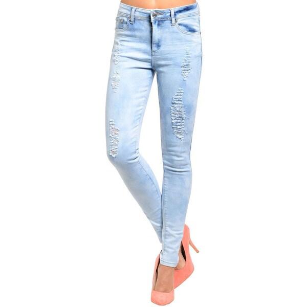 Shop The Trends Junior's Skinny Tie-dye Look Distressed Denim Jeans