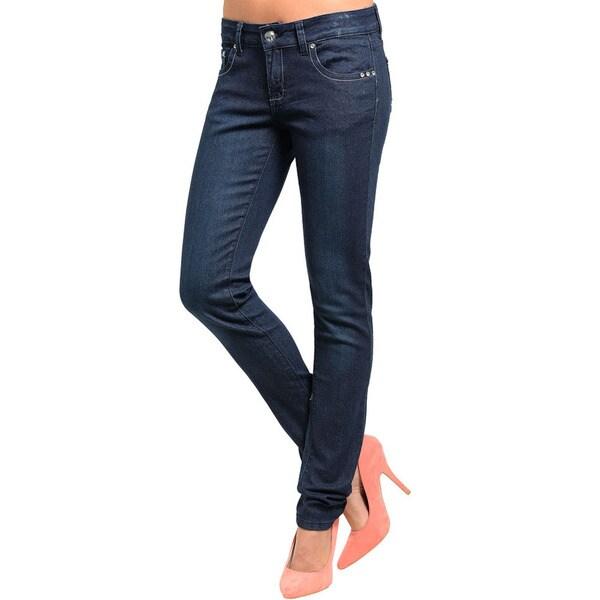 Shop The Trends Junior's Slim Fit Skinny Embellished Pocket Denim Jeans