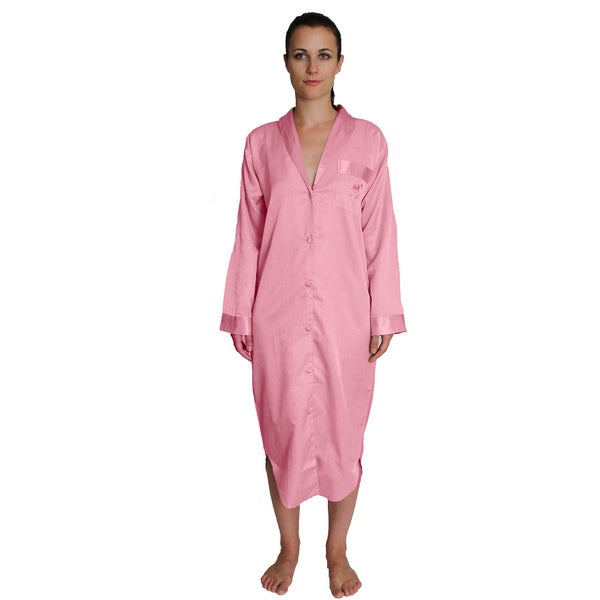 NDK New York Women's Button-front Satin Nightshirt