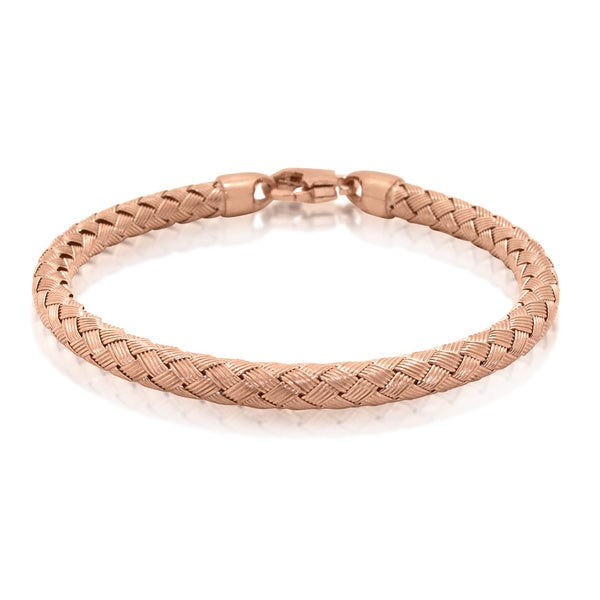 Gioelli Rose-plated Sterling Silver Basketweave Bracelet