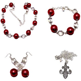 Carnation Red Moonscape Crystal Pearl and Clear AB Crystal Cube 4-piece Jewelry Set