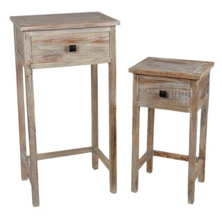 Wood 2-piece Rustic Plant Stand