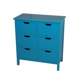 Wood Six (6) Drawer Blue Accent Stand