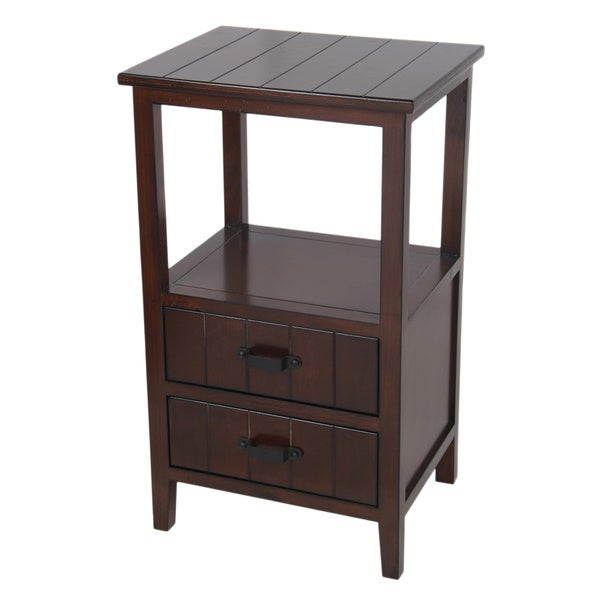Wood 2-drawer Oak Finish Accent Stand