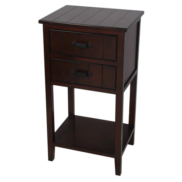 Wood 2-drawer Dark Oak Accent Stand