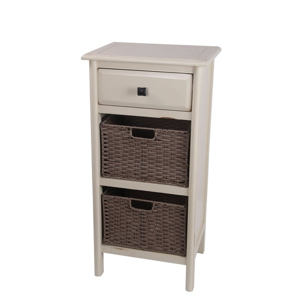 White 1-drawer 2-basket Stand