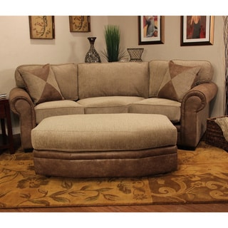 Christopher Knight Home Devon Conversational 2-piece Leather-patched Tweed Sofa with Hexagon Ottoman