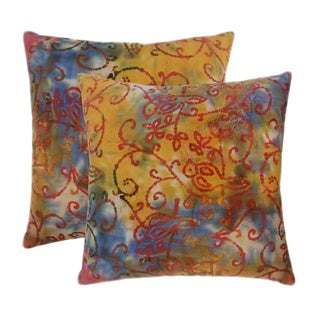 Cotton Batik Orange 20-inch Throw Pillows (Set of 2)