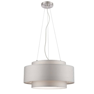 Lite Source 2-light Polished Steel/ Mesh Paper Pendant