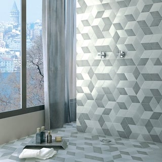 SomerTile 8.875x10.125-inch Concret Cubic Louvre Porcelain Floor and Wall Tile (15 tiles/9.74 sqft.)