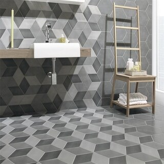 SomerTile 8.875x10.125-inch Concret Cubic Vigeland Porcelain Floor and Wall Tile (15 tiles/9.74 sqft.)