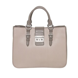 Miu Miu Madras Two-tone Grey Tote