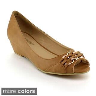DBDK Women's 'Lorrae-3' Peep-toe Wedged Slip-on Flats