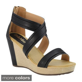 Bella Marie Women's 'NXT-14' Criss-cross Ankle Strap Platform Wedge