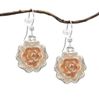 Jewelry by Dawn Orange Enamel Flower Dangle Earrings