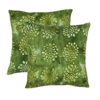 Cotton Batik Sage 20-inch Throw Pillows (Set of 2)