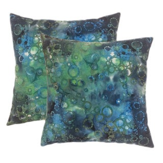 Cotton Batik Blue 20-inch Accent Pillows (Set of 2)