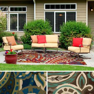 Hand-hooked Gena Contemporary Floral and Paisley Indoor/Outdoor Area Rug (5' x 8')