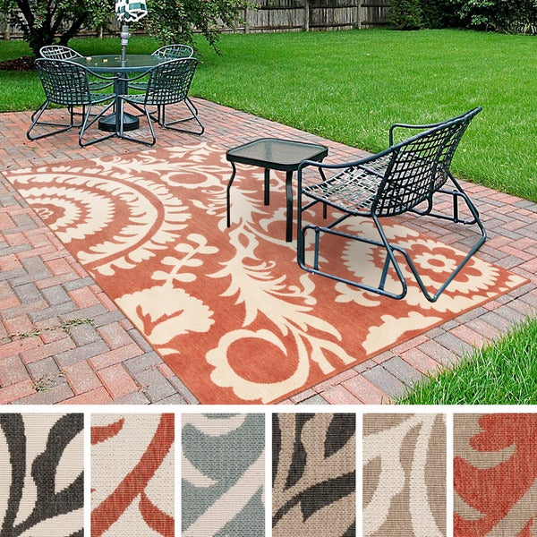 Contemporary Outdoor Patio Rugs : Meticulously Woven Nina Contemporary Floral IndoorOutdoor Area Rug (2