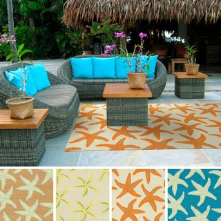 Hand-hooked Mia Transitional Starfish Indoor/Outdoor Area Rug (3' x 5')
