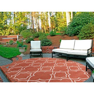 Meticulously Woven Natasha Contemporary Trellis Indoor/Outdoor Area Rug (5'3 Round)