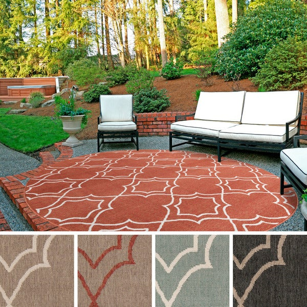 Contemporary Outdoor Patio Rugs :  Woven Natasha Contemporary Trellis IndoorOutdoor Area Rug (89 Round